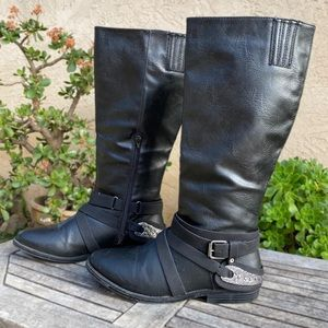 Rampage Isadora Black Moto Riding Boots 9.5